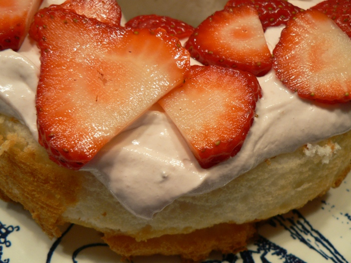 Angel Food Cake with Strawberries and Fluff