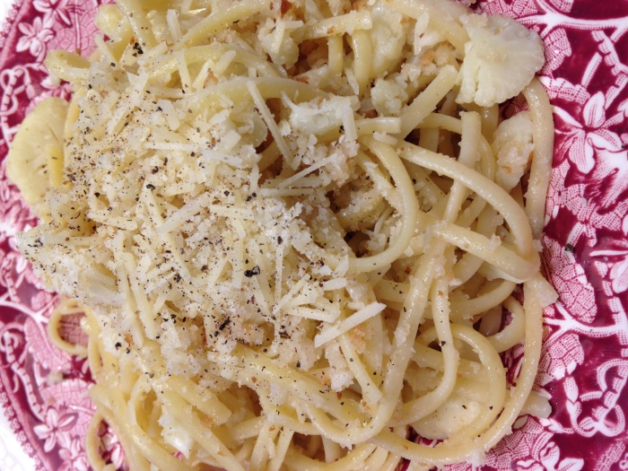 Pasta with Cauliflower – Not Very Colorful – But VerySatisfying!